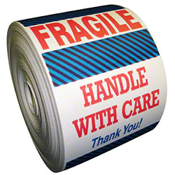 "SCL 921 ""FRAGILE-HANDLE W/CARE"" 4""X7 500/R(WHITE/RED)"