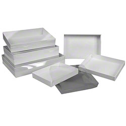 "BOXit White Krome Set-Up Apparel Box - 14"" x 4 1/2"" x 3/4"""