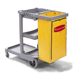 Rubbermaid® Janitor Cart w/Zippered Yellow Vinyl Bag -Gray