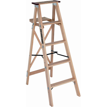Allright 504 Heavy Duty Industrial Wood Stepladder - 8'