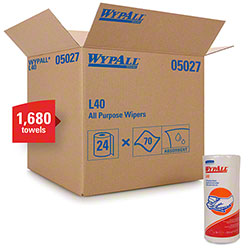 "WypAll® L40 Disposable Cleaning & Drying Towel - 11"" x 10.4"", White"