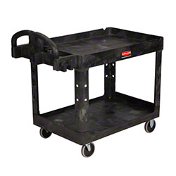 "Rubbermaid® 2 Shelf Cart w/5"" Casters - 45 1/4"" L, Black"