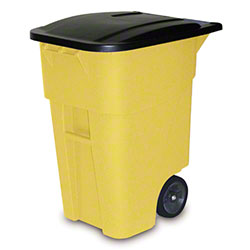 Rubbermaid® BRUTE® Rollout Cart - 50 Gal. w/ Lid, Yellow