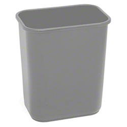 Continental Commercial Plastic Wastebasket -28 1/8 Qt,Grey