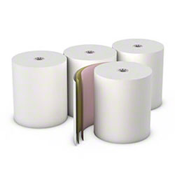 "Choice™ 3 Ply Carbonless Roll - 3"" x 65', Canary/Pink"