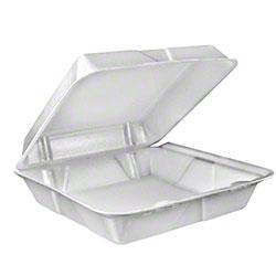 Dart® Foam Hinged Lid Cont. - Large, 1 Cmpt., White