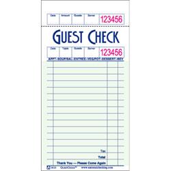 NCC Single Paper GUESTCHECKS™ - 1 Part, Green, 16 Lines
