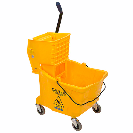 Carlisle Bucket w/Side Press Wringer - 35 Qt., Yellow