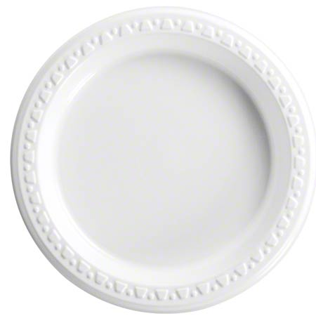 "Heavyweight Plastic Round Plate - 6"", White"