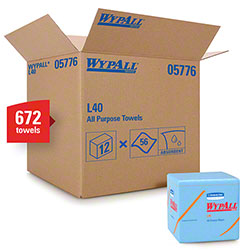 "WypAll® L40 Disposable Cleaning & Drying Towel - 12.5"" x 12"", Blue"