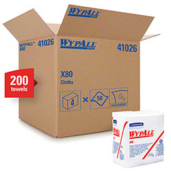 "WypAll® X80 Reusable 1/4 Fold Wiper - 12.5"" x 12"", White"