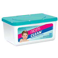 Nice-Pak® Nice 'N Clean® Baby Wipes -Unscented, 80 Wipes