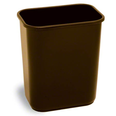 Continental Commercial Plastic Wastebasket -28 1/8 Qt,Brown