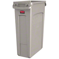 Rubbermaid® Slim Jim® Waste Cont. - 23 Gal, w/Vent,Beige