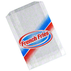 Grease Resistant French Fry Bag - 5 1/2 x 1 x 8