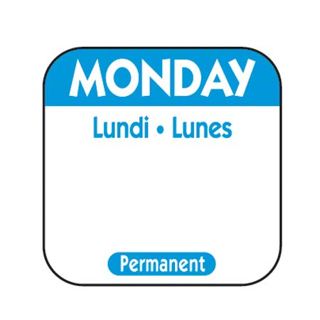 "NCC 1"" x 1"" Trilingual Permanent Label Roll - Monday, Blue"