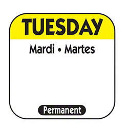 "NCC 1"" x 1"" Trilingual Permanent Label Roll -Tuesday, Yellow"
