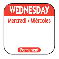 "NCC 1"" x 1"" Trilingual Permanent Label Roll - Wednesday, Red"