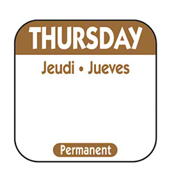 "NCC 1"" x 1"" Trilingual Permanent Label Roll -Thursday, Brown"