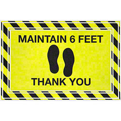 "Apache Mills ""Maintain 6 Feet Thank You"" Social Distancing Mat - 24"" x 36"""