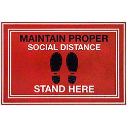 "Apache Mills ""Maintain Proper Social Distance Stand Here"" Social Distancing Mat - 24"" x 36"""