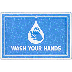 "Apache Mills ""Wash Your Hands"" Social Distancing Mat - 24"" x 36"""
