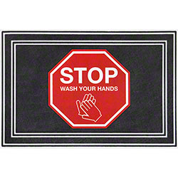 "Apache Mills ""Stop Wash Your Hands"" Social Distancing Mat - 24"" x 36"""