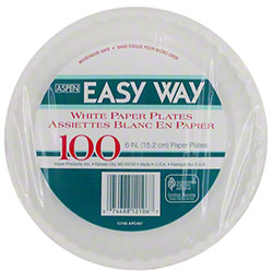 "Aspen Easy Way Uncoated Paper Plate - 6"", White"