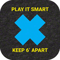 "Grippy Logo ""Keep 6' Apart/Play It Smart"" Social Distancing Mat - 9"" x 9"""