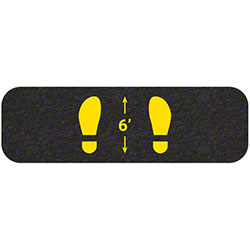 "Grippy Logo Yellow Footprints Social Distancing Mat - 8"" x 26"""
