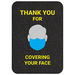 "Grippy Logo ""Thank You For Covering Your Face"" Social Distancing Mat - 17"" x 24"""
