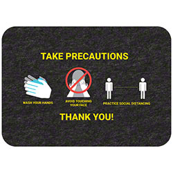 "Grippy Logo ""Take Precaution/Thank You"" Social Distancing Mat - 17"" x 24"""