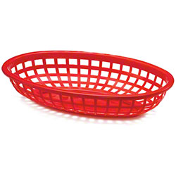 Tablecraft Oval Polyethylene Basket - Red