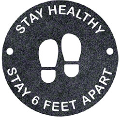 "Round ""Stay Healthy Stay 6 Feet Apart"" Social Distancing Mat - 17"""