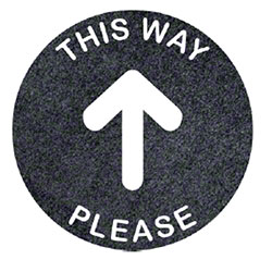 "Round ""This Way Please w/Arrow"" Social Distancing Mat - 17"""