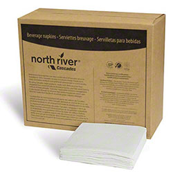 "Cascades North River® Beverage Napkin - 1 Ply, 8.5"" x 8.5"""
