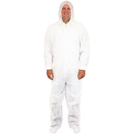 Safety Zone Disposable Bunny Suit - White, 2XL