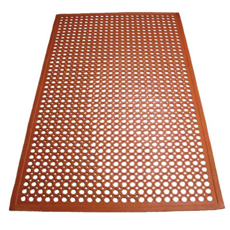 Winco® Beveled Edge Rubber Floor Mat - Red