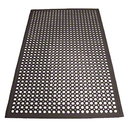 Winco® Beveled Edge Rubber Floor Mat - Black
