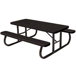 Anova® 8' Black Perforated Steel Picnic Table