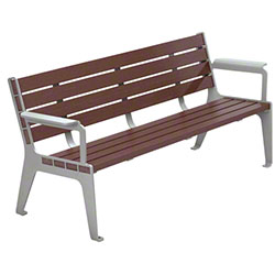 Anova® Madison 6' Recycled Plastic Mahogany Contour Bench