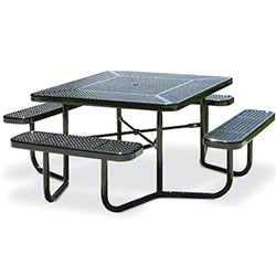 Fusion™ Portable Square Perforated Metal Table - Black