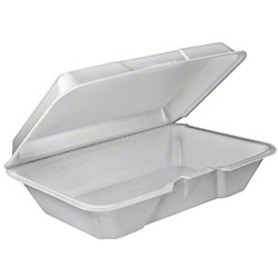 Dart® Foam Hinged Lid Cont. - 1 Cmpt/All Purpose, White