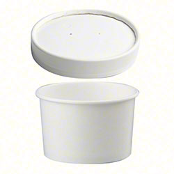 White Combo Pack Paper Container w/Paper Lid - 12 oz.