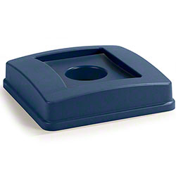 Carlisle Centurian™ Square Recycle Container Lid w/Bottle & Can Top - Blue