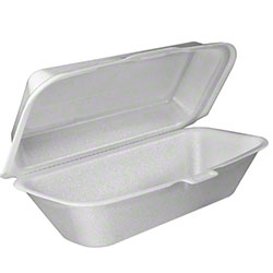 Dart® Foam Hinged Lid Cont. - Hoagie/All Purpose,White