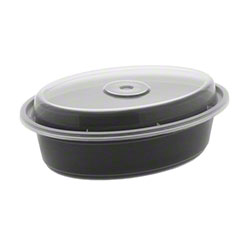 NEWSPRING® VERSAtainer® Microwavable Oval Takeout Container/Lid Combo - 16 oz, Black