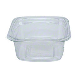"Pactiv 4"" Recycled Plastic Square Deli Container Base - 12 oz., Clear"