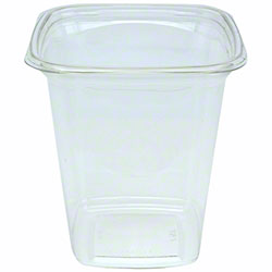 "Pactiv 4"" Recycled Plastic Square Deli Container Base - 32 oz., Clear"
