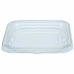 "Pactiv 4"" Recycled Plastic Square Clear Flat Recessed Lid"